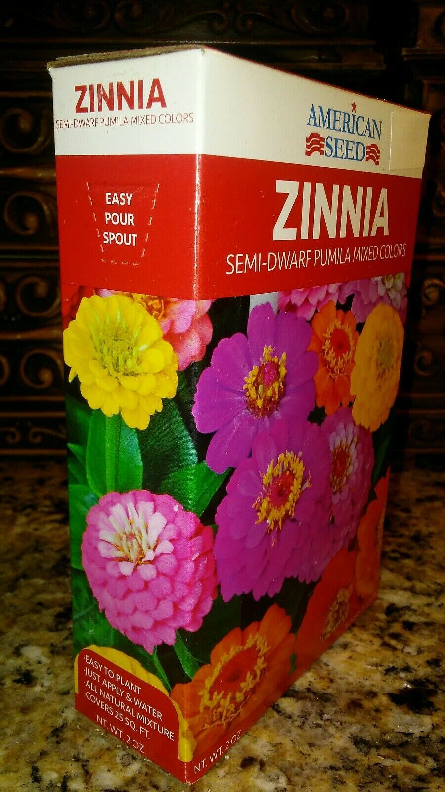 "Primary image for Zinnia Semi-Dwarf 18""-24"" SEEDS BIG BOX  Mix COLORS 100+ COVER 25 SQ FT+"