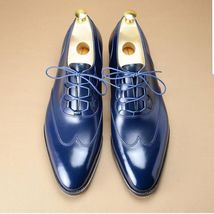 Handmade Men's Blue Wing Tip Lace Up Dress/Formal Leather Shoes image 1