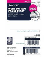 New FILOFAX 2020 POCKET DIARY Each Week On 2 Pages FULL YEAR White Paper... - $9.49