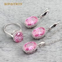Pink Cubic Zirconia 925 Sterling Silver Jewelry Sets Necklace Pendant Earrings B image 4