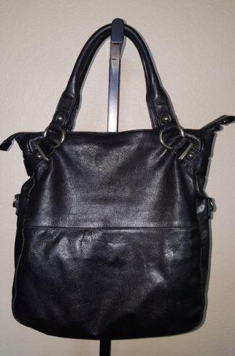 2f237862a9 Cynthia Rowley Black Leather Shoulder Bag Tote Silvertone Hardware and  Tassel
