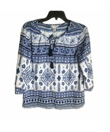 Tommy Bahama Womens Blue White Cotton Tassel Keyhole Floral Boho Top Siz... - $29.70