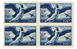 1947 Aegina abducted by Zeus Block of 4 France Airmail Stamps Catalog C20 MNH