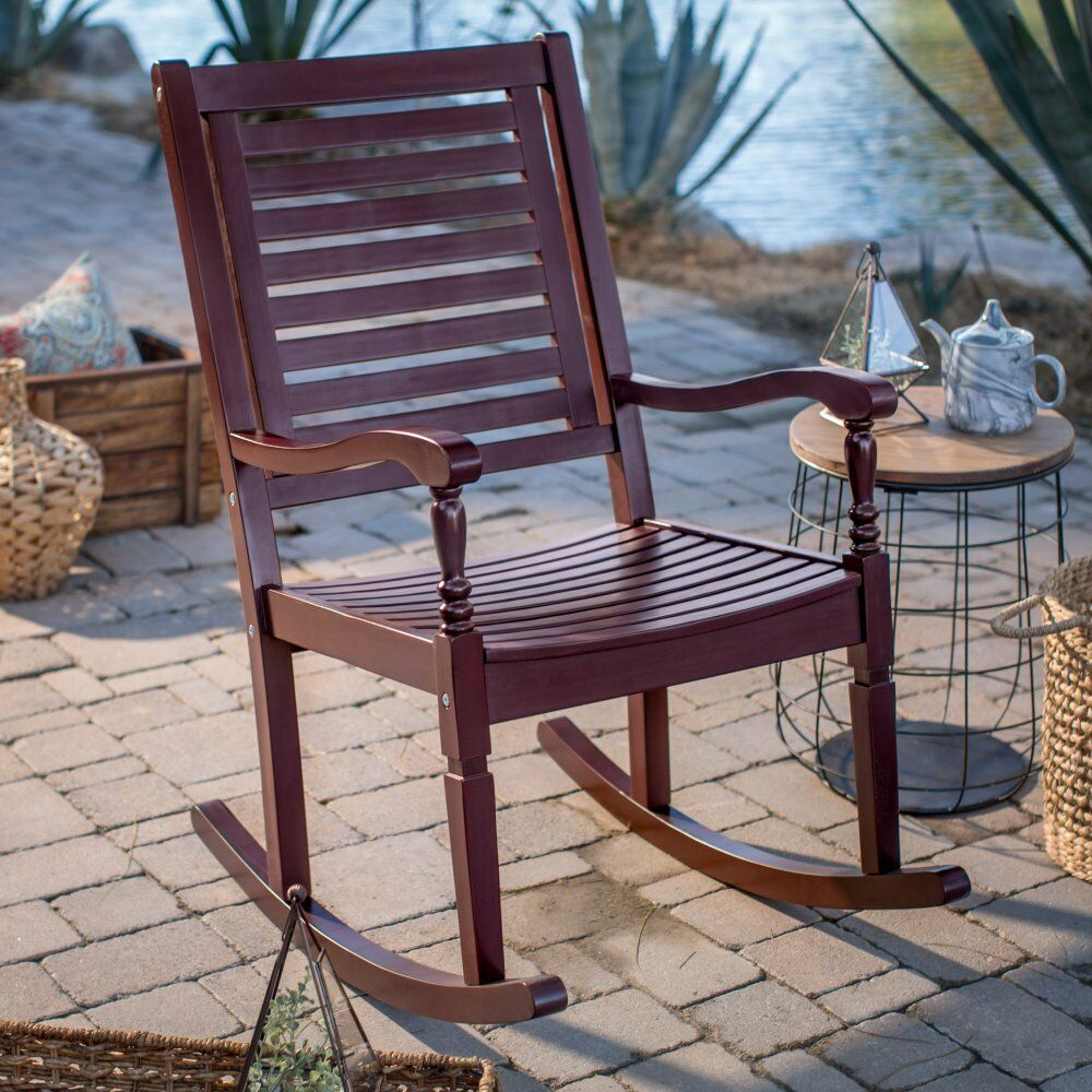Outdoor Solid Hard Wood Traditional Burgundy Red Outdoor Porch Rocking Chair