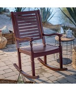 Outdoor Solid Hard Wood Traditional Burgundy Red Outdoor Porch Rocking C... - $214.46