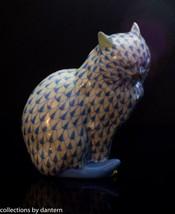Herend Porcelain Cat Sitting Figurine, VHB---5383, Blue Fishnet - $185.00