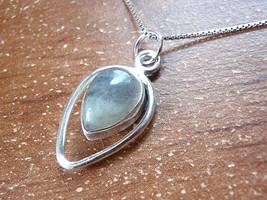 Labradorite Pendant 925 Sterling Silver Teardrop in Hoop Pear Shape 619ht - $9.89