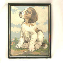 Vintage Paint By Number Puppy Dog Spaniel Glass Framed Gold Trim - $51.48
