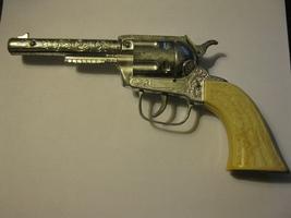 (CG -1) Vintage Toy Cap Gun: Unknown Pistol w/ White grips - $10.00