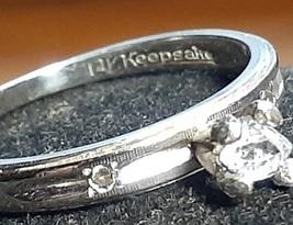 14k white gold ring with Herkimer diamond - $85.00