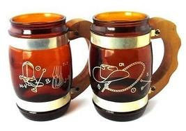 Western Cowboy Themed Set of 2 Siesta Ware Brown Glass Wooden Handled Mugs - $5.93