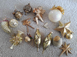 Eclectic Lot 16 Gold Tone Christmas Ornaments Cherub Ballerina Pear Bell... - $13.86