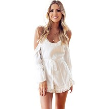 Women Fringe Playsuit Solid Pattern Pure Color Casual Rompers Open Shoul... - $25.82