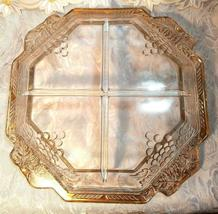 VINTAGE 4 SECTION DIVIDED OCTAGON GLASS BOWL - GRAPE AND LEAVES DESIGN GOLD TRIM image 8