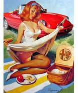 Vintage Alpha Romeo pin up girl metal sign classic car garage decor - $19.79