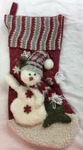 "Gerson 20"" plush Snowman w scarf hat Christmas stocking Red White glitte... - $12.86"