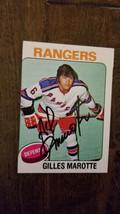 1975-76 TOPPS SIGNED CARD GILLES MAROTTE RANGERS KINGS BRUINS BLACKHAWKS... - $39.59