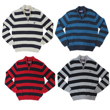 NWT CHAPS by Ralph Lauren Men 100% Cotton 1/4 Zip Pullover Sweater Stripes M-XL - $39.99