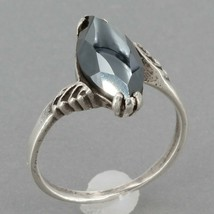 Vintage Southwestern Bell Trading Post Sterling Marquise Hematite Ring Size 7 - $14.95