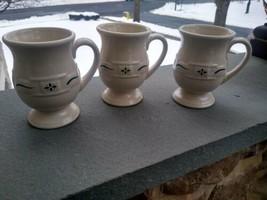 3 Longaberger Woven Traditions Green Grand Mugs Pesestal - $48.90