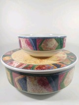 "Furio Mesa H097/52 Multi Colored Serving Bowl 9"" with lid  + 6"" inch bowl - $850,04 MXN"