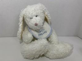 Baby Boyds plush toy white bunny rabbit rattle sweet dreams blue bib shaggy fur - $14.84