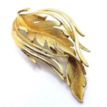 LISNER Brooch PinGold Tone Curled Feather Leaf Vintage 1960s Signed  - $19.24