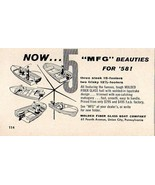 1958 Print Ad MFG Boats for '58 Molded Fiber Glass Boat Co Union City,PA - $9.59