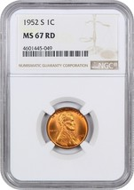 1952-S 1c NGC MS67 RD - Lincoln Cent - $169.75