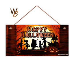 Happy Halloween Sign, Trick or Treat, Holiday Rustic 5x10 Spooky Wood Sign - $11.39