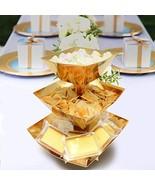 3-Tier Gold Dissert Display Dessert Stand Candy Snack Cupcake Stand Part... - $10.42