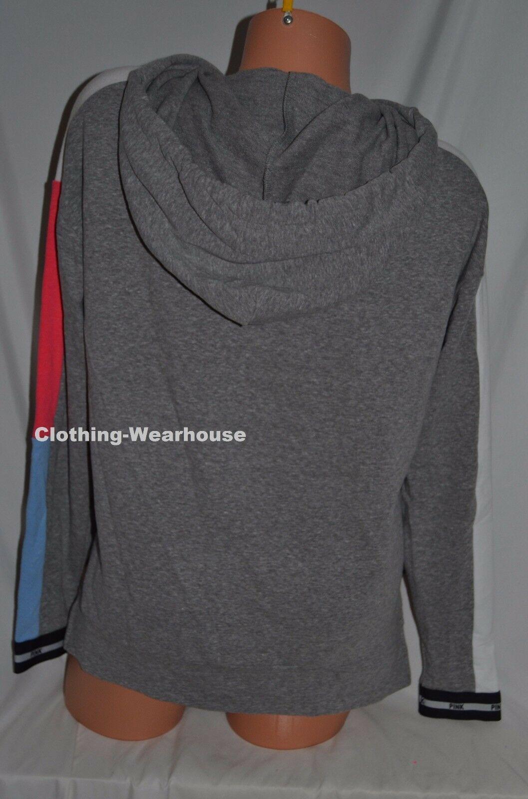 Victoria's Secret PINK Slouchy Full Zip Hoodie Sweatshirt Grey Black Logo Red XS