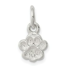 Sterling Silver 925 Polished and Textured Paw Print Charm Pendant - $11.92