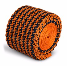 Frederick Thomas Strick Skinny orange und Marineblau Hundezahn Herren Krawatte