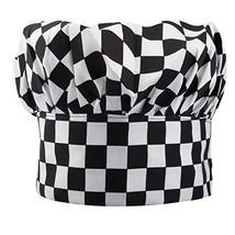 TRIXES Professional Kitchen Chef Hat Black & White Chequered - $4.94