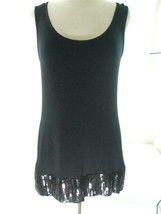 Calvin Klein Women's Size M Black Tank Top Sequin Trimmed Bottom Sleeveless - $14.80