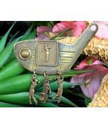 Vintage Jan Michaels Golf Club Golfer Brooch Pin Brass Charms Dangles - $24.95