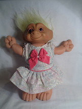 Vintage Ace Novelty Belly Jewel Troll Plush Doll Floral Dress Lt. Yellow... - $11.86