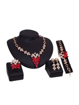 Red 5 Pieces Rhinestone Glimmer Delicate Jewelry Set - $10.99