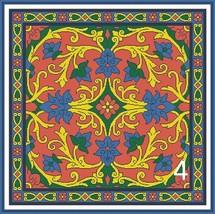 Antique Square Tapestry Floral Pillow 1 Cross Stitch Pattern PDF Format - $8.00