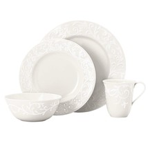 New Lenox Opal Innocence Carved Scroll 4-Piece Place Setting~White~ NIB - $34.60