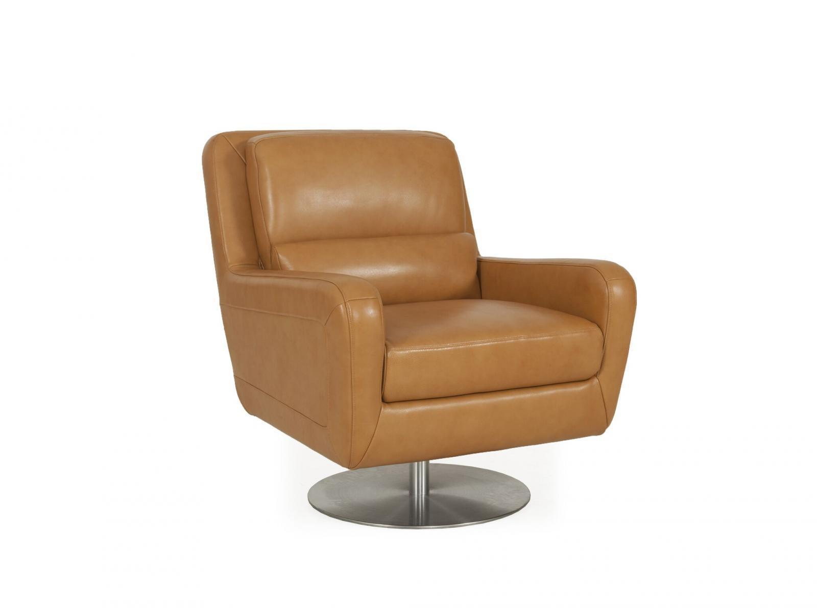 Moroni Swan 550 Honey Top Grain Leather Upholstery Mid-Century Swivel Chair