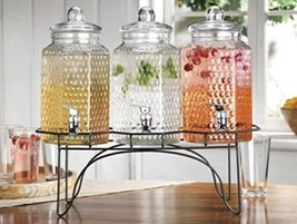 (3) 1 Gallon Each Quality Clear Beverage Dispensers Hermetic Seal Metal ... - $79.19