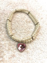 Dog Necklace Size M/L Pup Fashion Wear Big Heart Gem Outlined With Clear... - $8.33