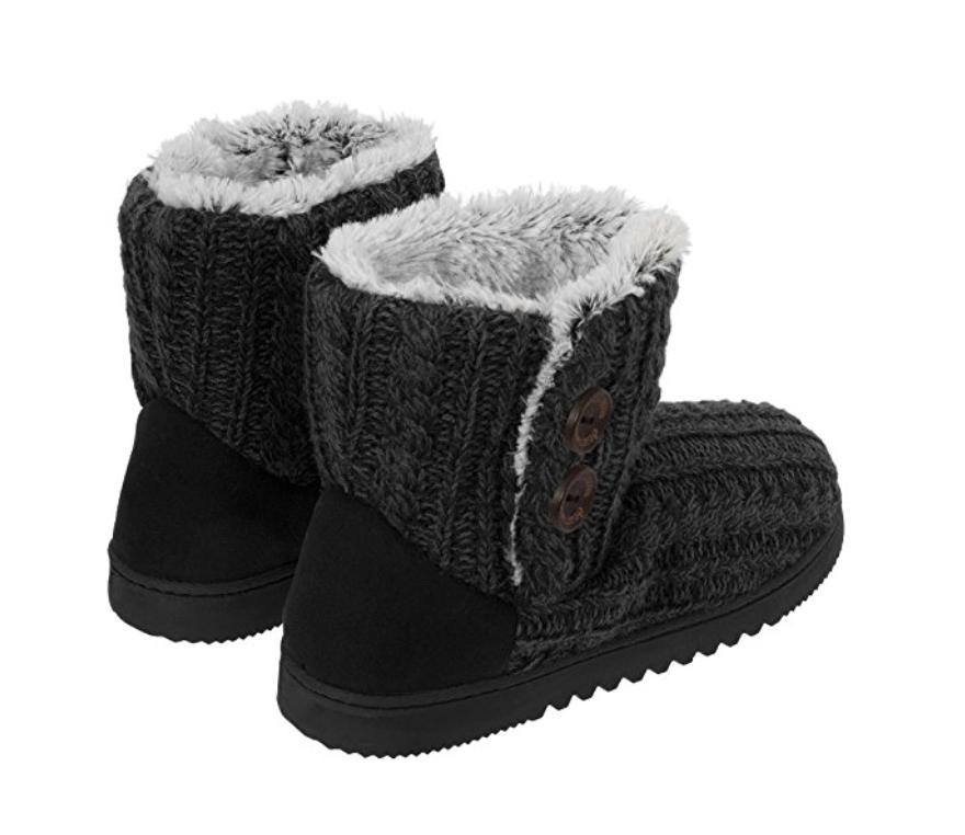 Dearfoams Women's Memory Foam Sweater Knit Indoor/Outdoor Bootie Slippers, Small