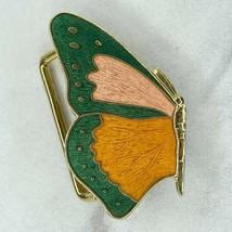 Vintage Gold Tone Pink Orange Green Butterfly Belt Buckle - $12.59