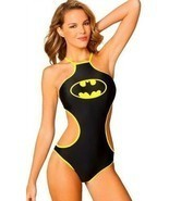 Batgirl Bat Basics High Neck 1 Piece Dc Comics Batman Logo Monokini Bath... - $39.48 CAD