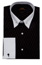 Steven Land Black Point Collar and French Cuffs Geometric Dress Shirt TA... - $63.01