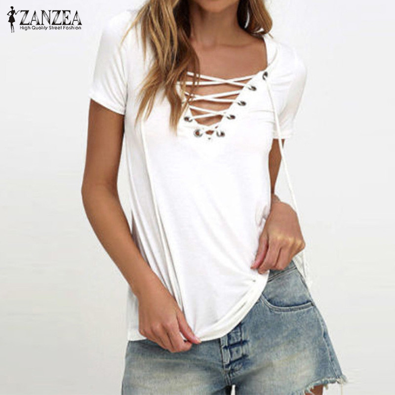 ZANZEA Women Blusas 2018 Summer Oversized Sexy V Neck Blouses Short Sleeve Casua