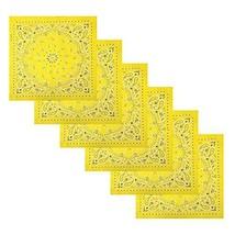 6 Pack Multifunctional Handkerchiefs Cowboy Square Bandana Light Yellow ... - $15.59